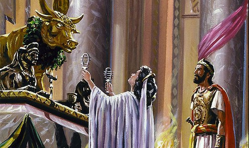Figura de Jezabel celebrando culto a baal. (Foto: Uned)