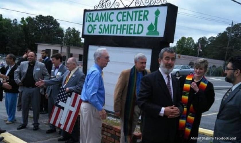 Entrada do novo centro islâmico de Smithfield