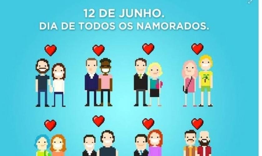 """Postagem feita pela Prefeitura do Rio no Facebook, onde desejava um """"feliz dia de todos os namorados"""" a casais hetero e homossexuais."""