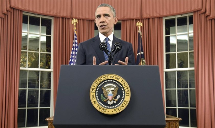 O presidente americano, Barack Obama, durante pronunciamento ao vivo direto da Casa Branca. (Foto: Saul Loeb/Efe)