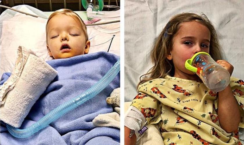 Jaxon, de dois anos e Addie, de quatro anos, contraíram a mesma infecção. (Foto: Reprodução/Instagram)