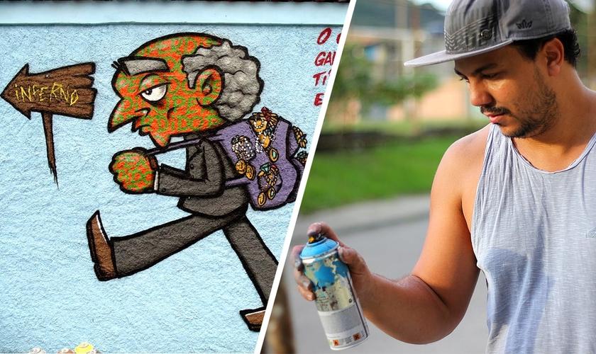 Léo Shun expressa o amor de Deus através da arte urbana desde sua conversão. (Foto: Divulgação)