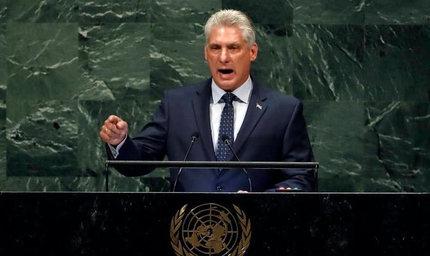 Presidente cubano Miguel Díaz-Canel durante discurso na ONU. (Foto: AP Photo/Richard Drew)