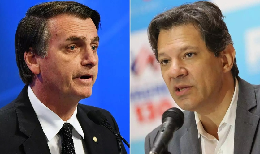 Os candidatos à Presidência da República Jair Bolsonaro e Fernando Haddad. (Foto: Nelson Almeida/AFP - Ulisses Dumas/Divulgação)