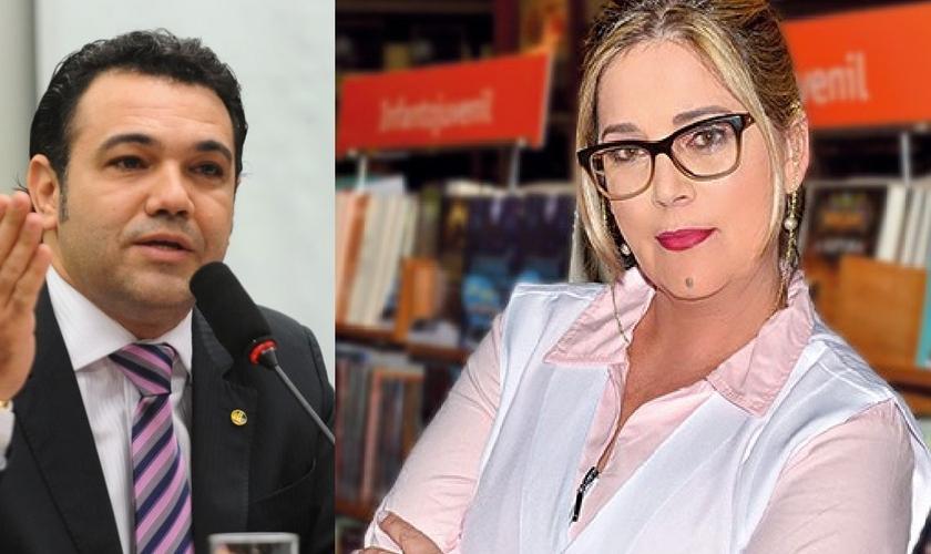 Marco Feliciano (esquerda) recebeu as denúncias feitas pela psicóloga Marisa Lobo (direita) contra os Conselhos de Piscologia. (Imagem: Guiame - edição)
