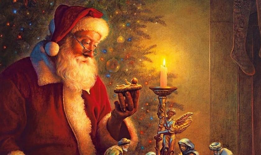 """Papai Noel contemplando a figura de Jesus na pintura """"O Espírito do Natal"""", por Greg Olsen, 2009. (Foto: Greg Olsen)"""