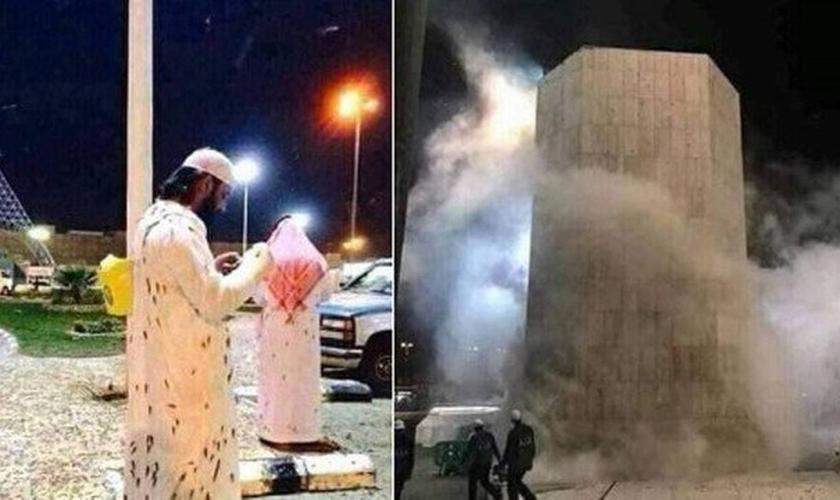 Dezenas de milhares de gafanhotos invadem Meca (Foto: Reprodução/Twitter)
