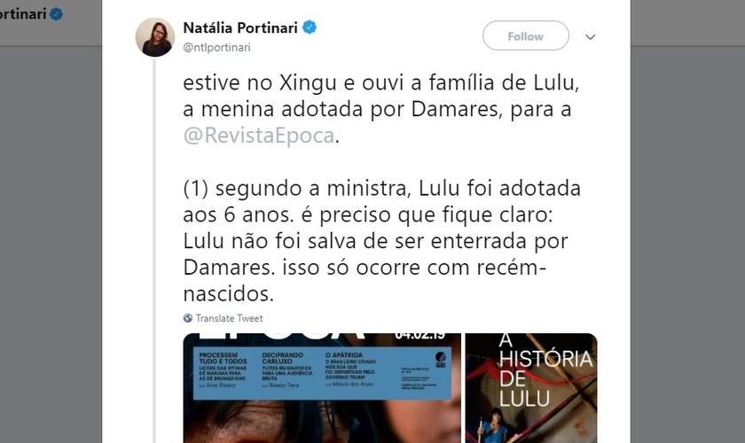 Natália Portinari é jornalista da revista Época e menosprezou o infanticídio indígena para tentar desmentir e acusar a ministra Damares Alves de sequestro. (Imagem: Twitter - Reproduçã)