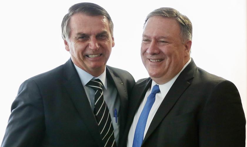 Presidente Jair Bolsonaro e secretário de Estado norte-americano, Mike Pompeo. (Foto: Marcos Correa/Reuters)