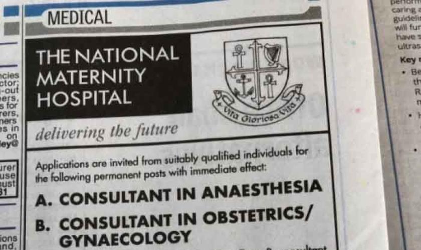 Anúncio de vaga de emprego em hospital da Irlanda pede profissionais que aceitem fazer aborto. (Foto: Reprodução/Twitter)
