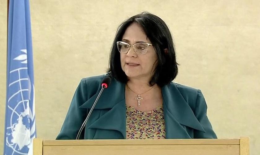 Ministra da Mulher, Família e Direitos Humanos, Damares Alves, em discurso na ONU. (Foto: Reprodução/TV Globo)