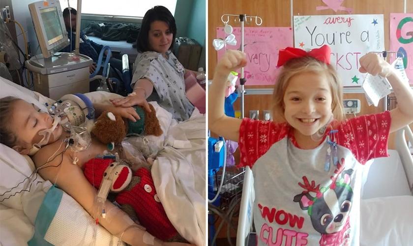 Avery Brekle junto com sua doadora, a irmã Sara adotiva (à esquerda) e em seu quarto se recuperando do transplante (Foto: Reprodução/Facebook/BPress)