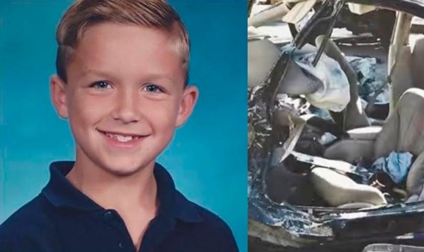 Landon Whitley, aos 8 anos, sofreu um acidente junto com seus pais quando voltavam da igreja. (Foto: Arquivo Pessoal)