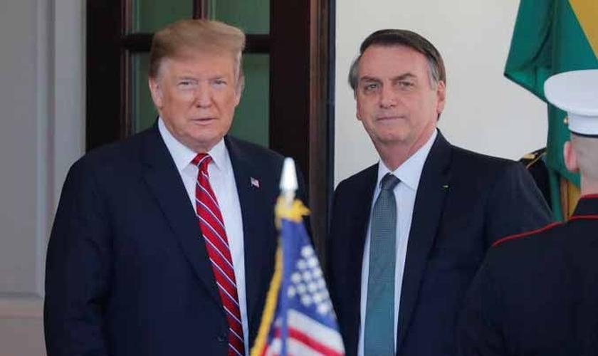 Presidente do Brasil, Jair Bolsonaro, e presidente dos EUA, Donald Trump, na Casa Branca. (Foto: Brendan Smialowski/AFP)