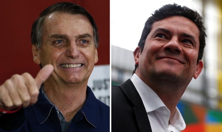 Presidente Jair Bolsonaro e ministro da Justiça Sérgio Moro. (Foto: Silvia Izquierdo/AP/Rodolfo Buhrer/Reuters)