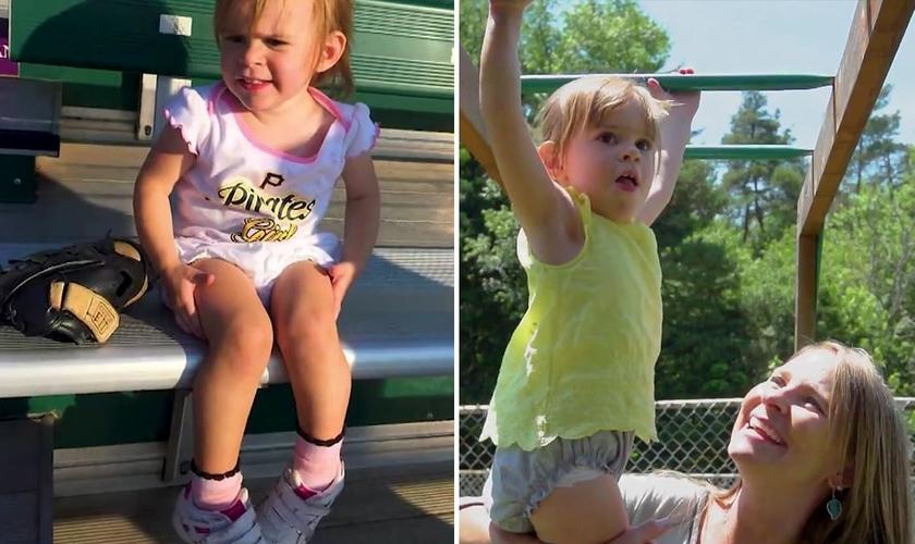 Após oração, Elizabeth, de 2 anos, foi curada de problema nos pés. (Foto: Reprodução/CBN)