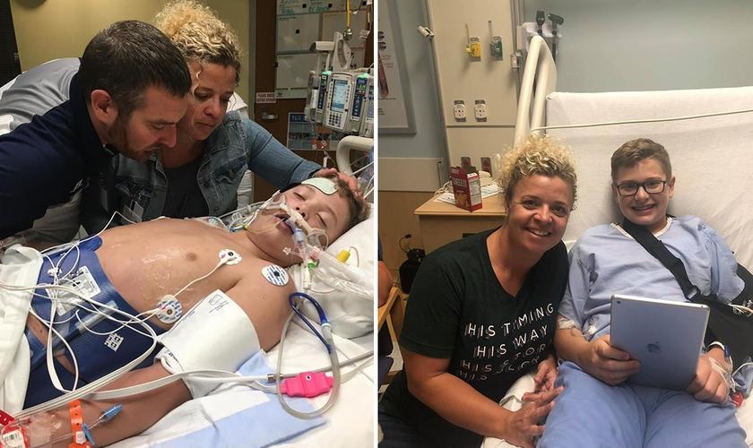 Derrick e Amy Burton no Hospital em oração enquanto seu filho William que teve parada cardíaca se recupera. (Foto: Reprodução/Facebook)