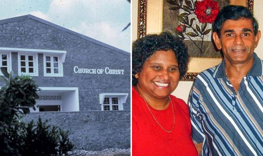 Pr. Harold Thomas e sua esposa, Lilani, líderes da Igreja de Cristo, no Sri Lanka. (Foto: Arquivo pessoal e Betty Choate)