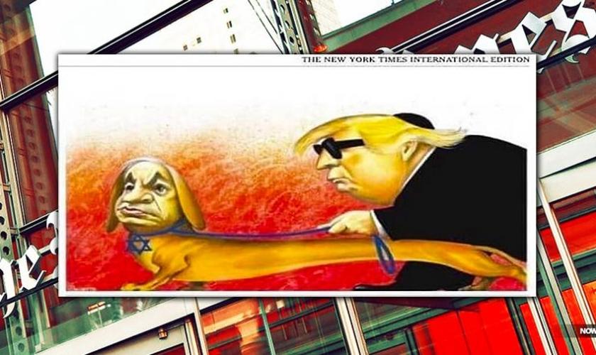 Charge usa figuras de Benjamin Netanyahu e Donald Trump. (Foto: Reprodução/UOL).