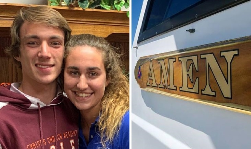 Tyler Smith e Heather Brown, de 17 anos, ficaram presos no mar por quase duas horas quando pediram ajuda a Deus. (Foto: Reprodução/WJAX/Eric Wagner)