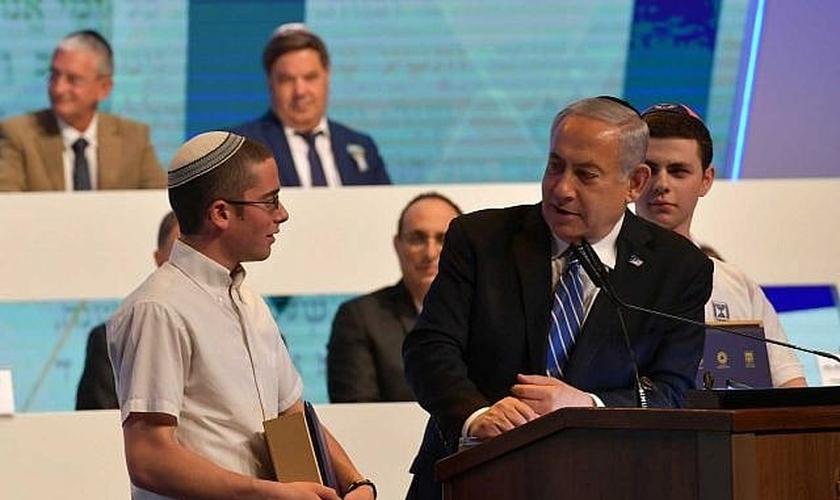 Primeiro-ministro Benjamin Netanyahu no Quiz Bíblico Internacional, no Dia da Independência de Israel. (Foto: Kobi Gideon/GPO)