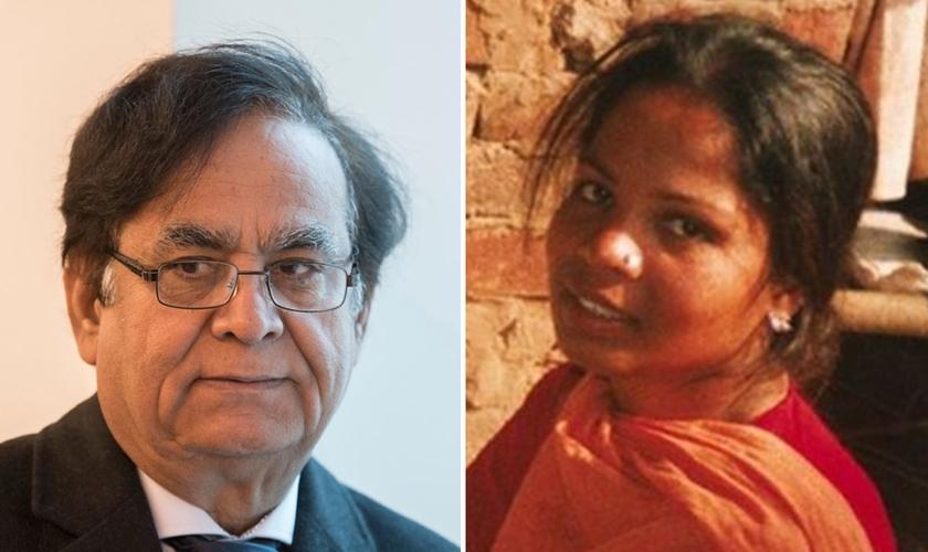 Advogado Saif-ul Malook e sua cliente Asia Bibi. (Foto: Boris Roessler/DPA/PA Images)