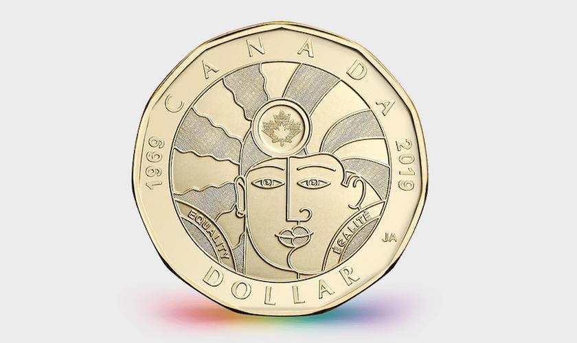 """""""Moeda da Igualdade"""" tem valor de US$ 1. (Foto: Reprodução/CanadianMint)"""