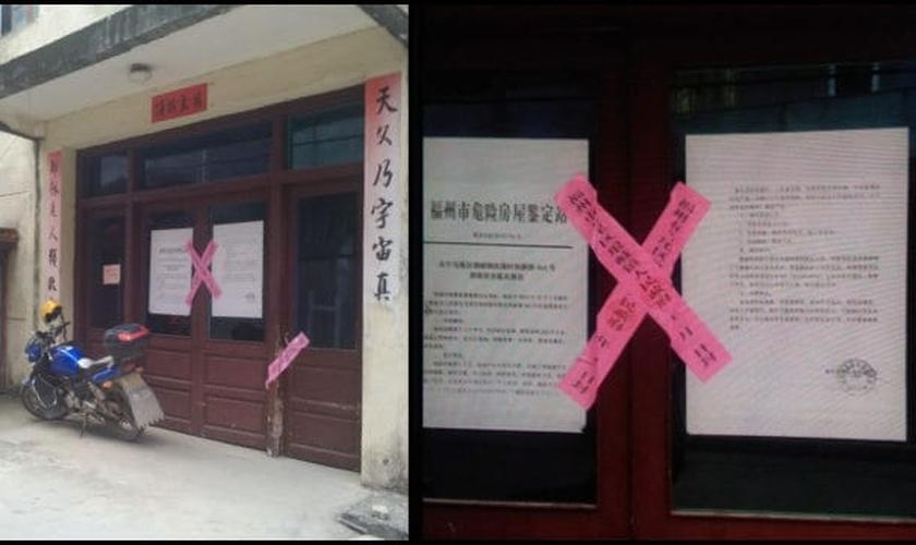 A entrada da igreja com lacre de fechamento colocado pelo regime comunista. (Foto: Reprodução/Bitter Winter)