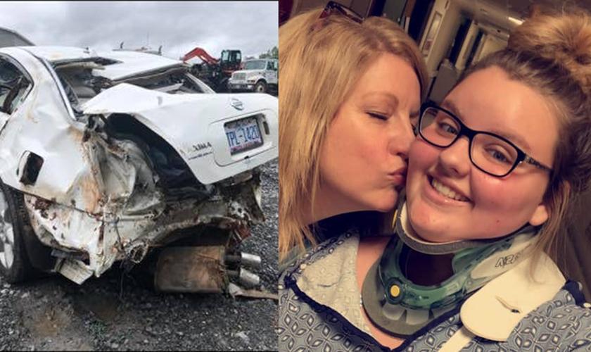 O carro de Macy Smith destruído após acidente, e a jovem agora salva. (Foto: Reprodução/Twitter)