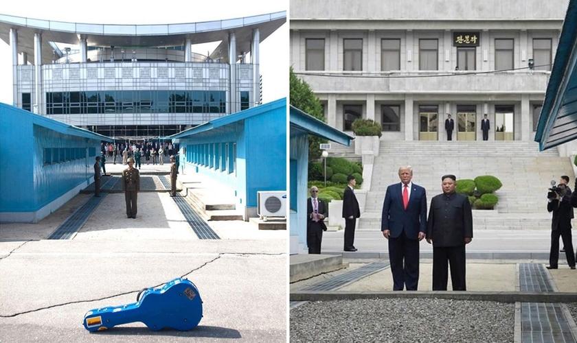 O violão de Steve Feucht na DMZ (à esquerda) e o presidente Donald Trump e o ditador Kim Jon-un se encontram na zona desmilitarizada entre a Coreia do Norte e do Sul. (Foto: Kevin Lamarque/Reuters)