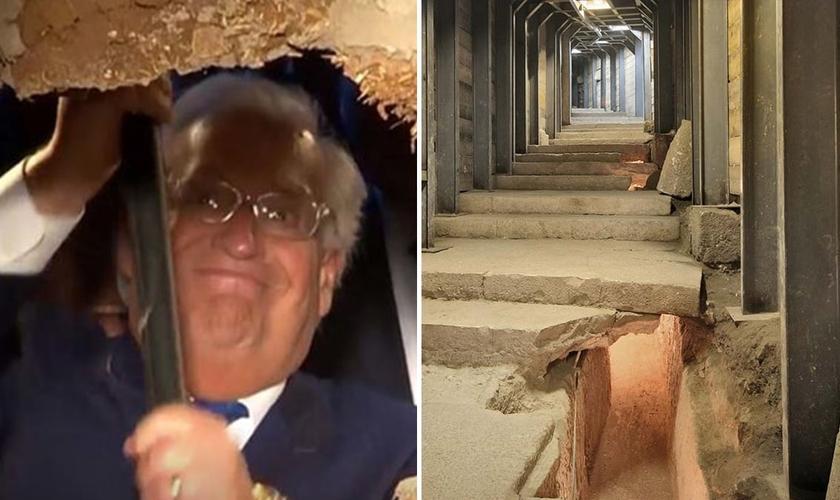 Com uma marreta, embaixador americano David Friedman abre parede que inaugura Estrada dos Peregrinos como nova via para o turismo em Jerusalém. (Foto: Reprodução/Menorah)