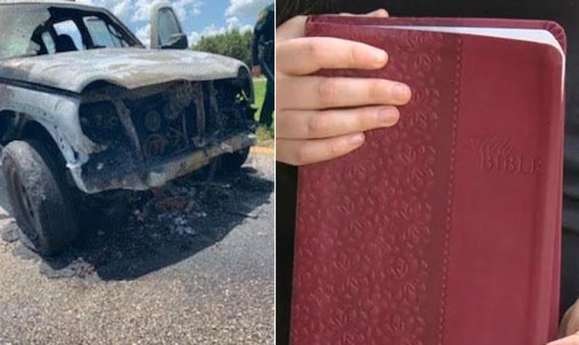 Bíblia permaneceu intacta em meio às chamas que carbonizaram o veículo. (Foto: WBBH/WZVN)