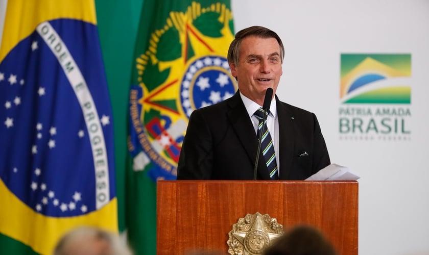 Presidente Jair Bolsonaro na solenidade alusiva aos 200 dias de governo. (Foto: Alan Santos/PR)