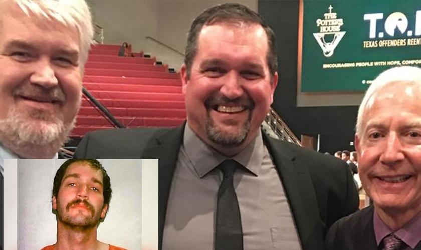 Ron Adkins quando foi preso (no destaque) e hoje como ministro do Evangelho (no centro da foto). (Foto: Reprodução/Facebook)