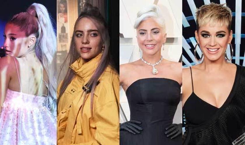 Ariana Grande, Billie Eilish, Lady Gaga e Katy Perry. (Foto: Reprodução/CBS/ABC/NBC)