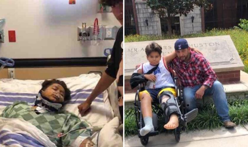 Emilio Corrales itnernado após ser atropelado por semi-caminhão (à esquerda) e em recuperação ao lado do pai. (Foto: Reprodução/CP)