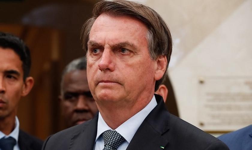 Presidente da República, Jair Bolsonaro durante visita ao Templo de Salomão. (Foto: Alan Santos/PR)