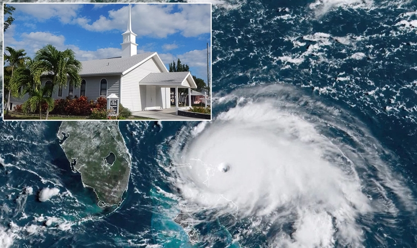 Imagens de satélite do furacão Dorian sobre as Bahamas e igreja New Life, antes de ser destruída. (Fotos: Reprodução/KRDO/Randy Crowe)