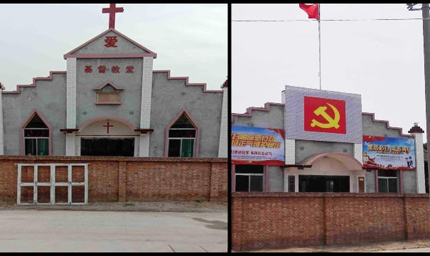 Uma igreja Three-Self na vila de Nanjialu, no condado de Pucheng, foi transformada em um escritório do comitê do PCC. (Foto: Reprodução/Bitter Winter)