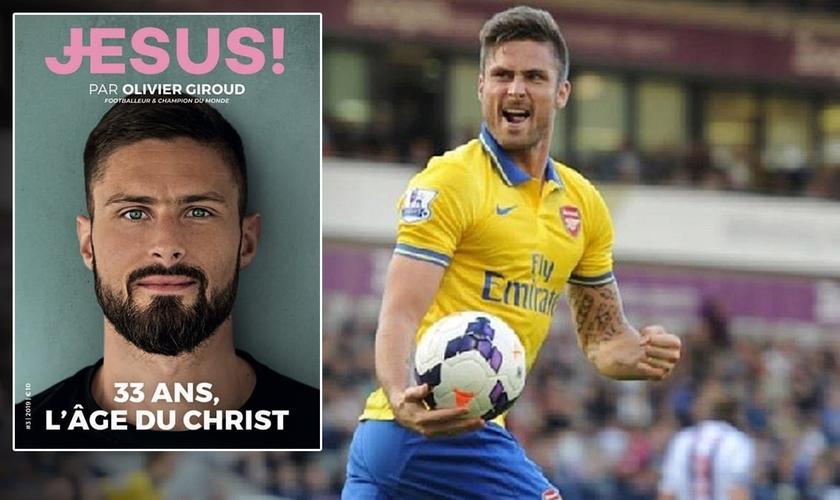Olivier Giroud é capa da revista francesa 'Jesus' de setembro. (Foto: Reprodução/Instagram)