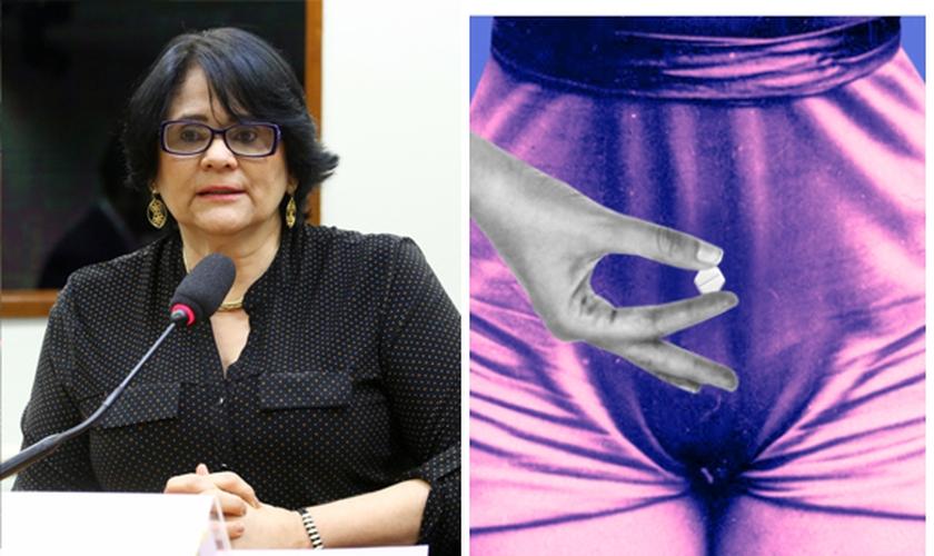 Damares Alves e ilustração da revista AzMina que ensina sobre aborto. (Reprodução/Twitter)