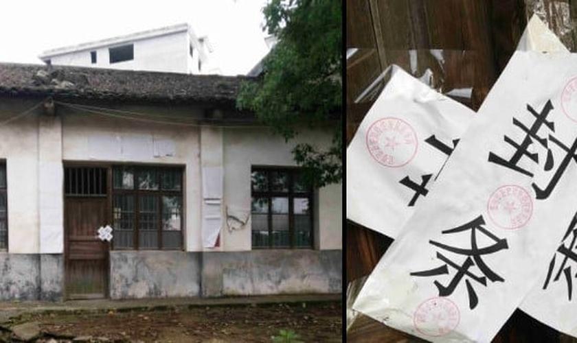 Um local de reunião da igreja doméstica na cidade de Yichun foi fechado e sua porta foi trancada. (Foto: Reprodução/Bitter Winter)