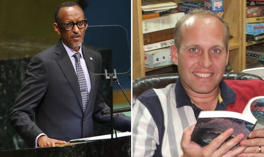 O presidente de Ruanda, Paul Kagame, discursa na 73ª Assembleia da ONU (à direita); o missionário deportado Gregg Schoof. (Foto: Reprodução / Getty Images / Spencer Platt / YouTube)