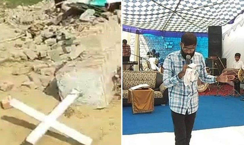 Restos da igreja cristã demolida pelas autoridades indianas (à esquerda) e culto sendo realizado ao ar livre (à direita). (Foto: Reprodução/Premier)