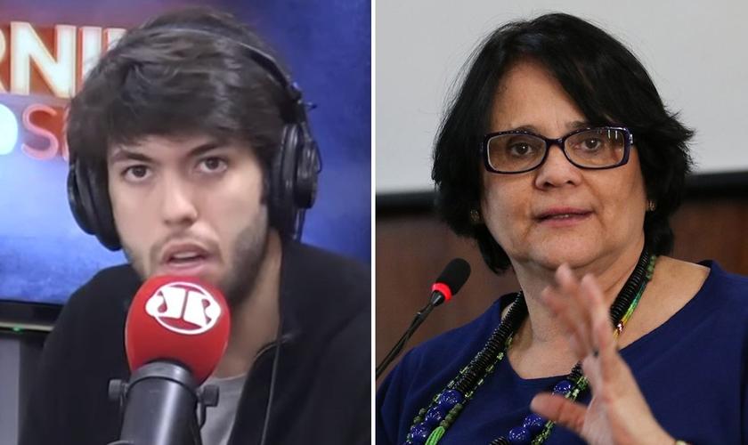 Caio Coppolla e ministra Damares Alves. (Foto: Reprodução/YouTube)