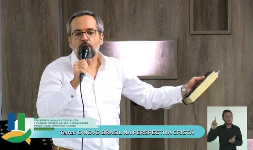Ministro Abraham Weintraub em evento da Frente Parlamentar Evangélica. (Foto: Reprodução/Boas Novas)
