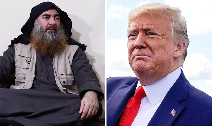 O líder do Estado islâmico, Abu Bakr al Bagdadi [à esquerda); e o presidente americano Donaldo Trump. (Foto: Reprodução/Vox/National Revew)