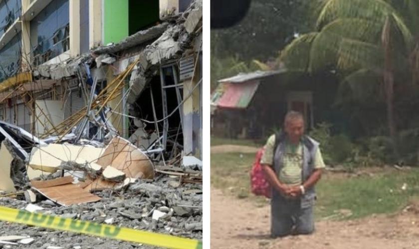 Prédio danificado pelo terremoto de 6,6 graus; homem ora de joelho na rua. (Foto: Reprodução/Amazonas/God TV)