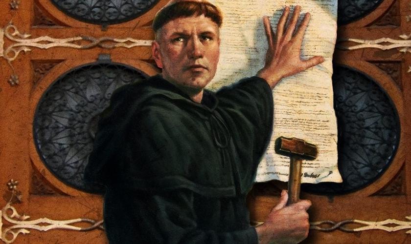 Lutero prega as 95 teses na porta da Catedral de Wittenberg, em 31 de outubro de 1517. (Foto: Pinterest)
