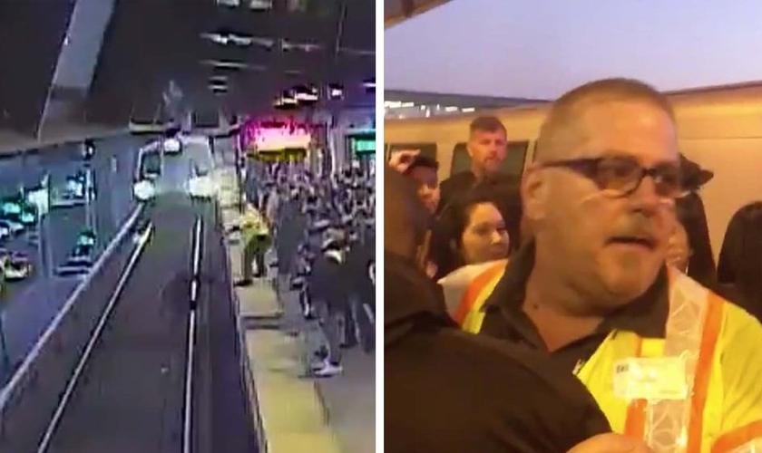 O funcionário John O'Connor puxou um homem de volta para a plataforma, pouco antes do trem chegar à estação Coliseum, na Califórnia. (Foto: Bay Area Rapid Transit/@TonyBadilla)